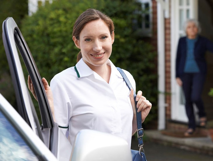 Caregiver traveling to a job